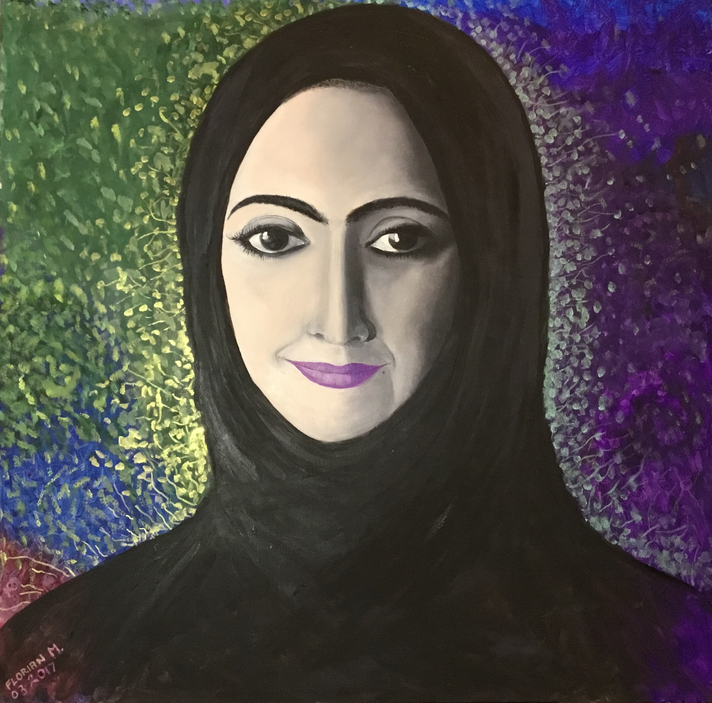 An Emirati lady, oil on canvas, 100x100 cm